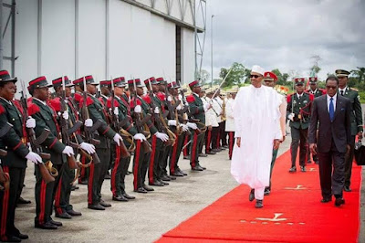 Photographs:Nigeria President Buhari and Equitorial Guinea president as he arrived on a 2-day official visit