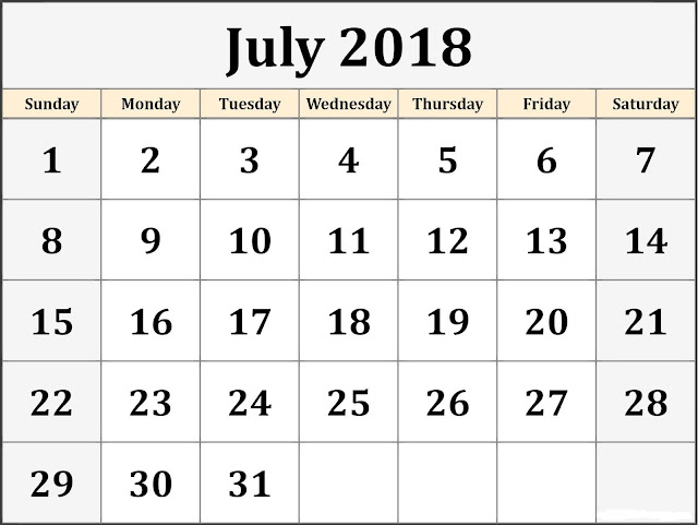 July 2018 Printable Landscape calendar