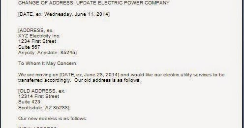 Electricity Bill Address Change Letter