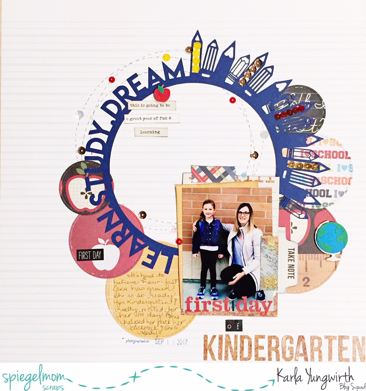 Spiegel In Kindergarten Karla Yungwirth Designs Spiegelmom Scraps First Day Of