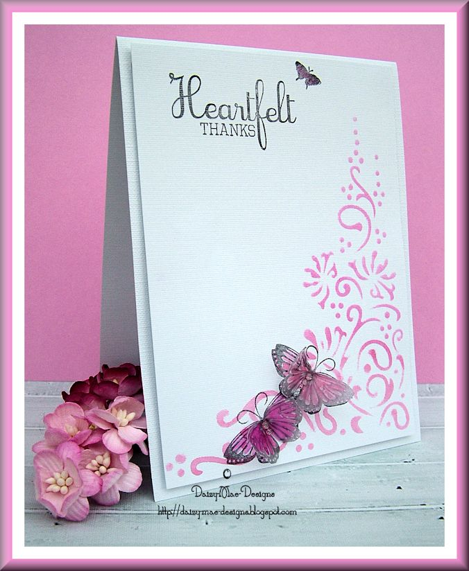 Heartfelt Thanks,stencilling, pink, butterflies, Less is More