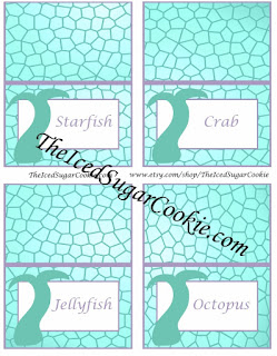 Starfish, Crab, Jellyfish, Octopus-Purple And Aqua Mermaid Food Cards Printable Template For A DIY Mermaid Birthday Party
