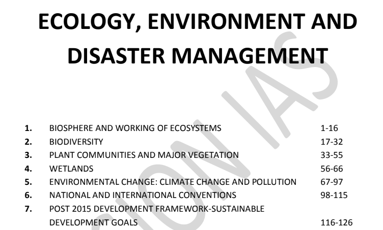 ECOLOGY ENVIRONMENT AND DISASTER MANAGEMENT - Vision IAS