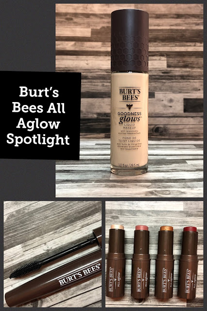 Burt's Bees All Aglow Lip and Cheek Sticks, Goodness Glows Liquid Foundation, Nourishing Mascara