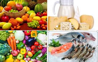 La base de la dieta DASH: Frutas-Verduras-pescados-Lácteos