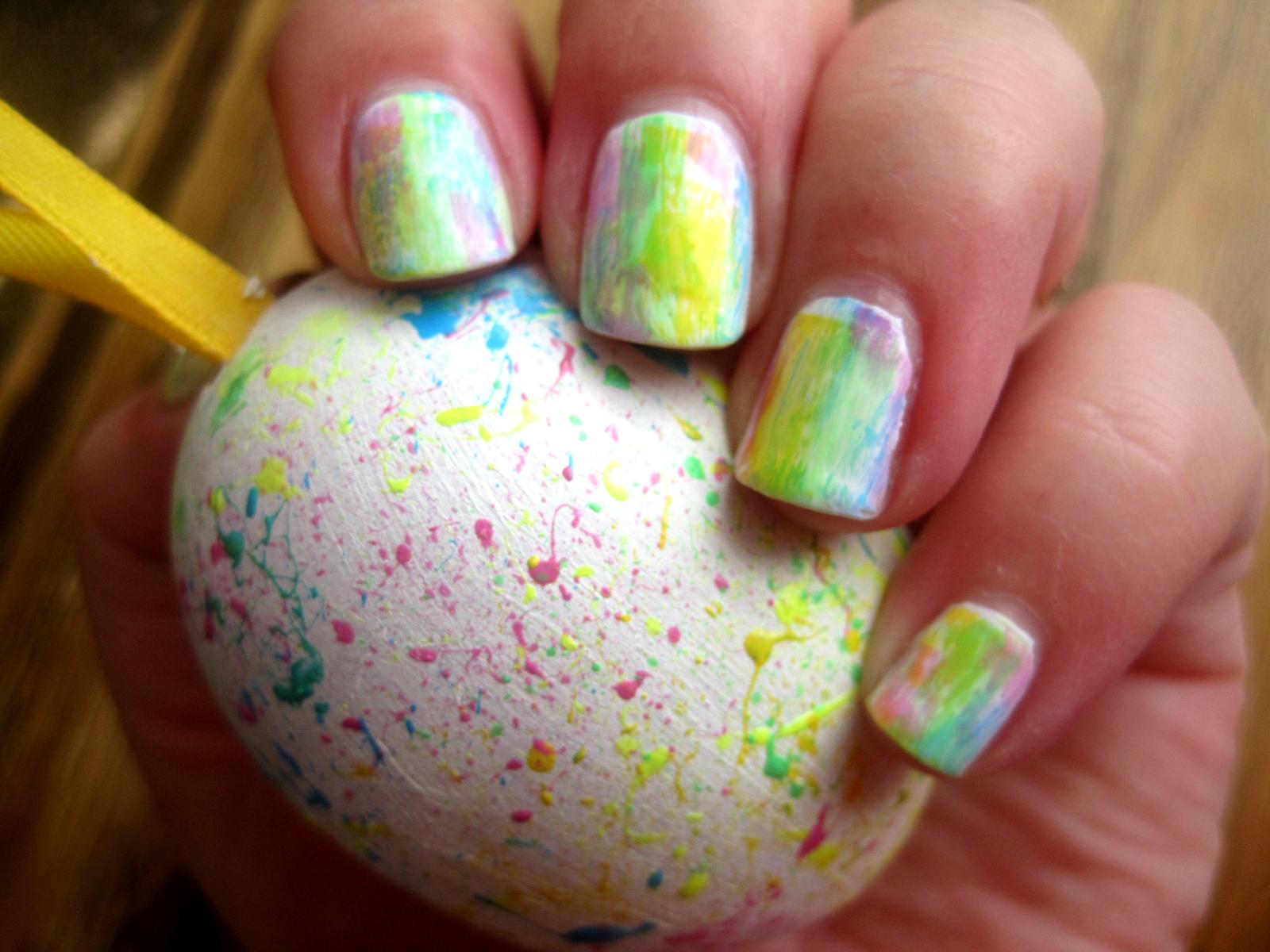 Tęczowe paznokcie w wiosennych kolorach