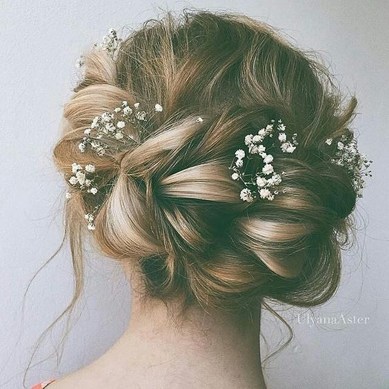 Lovely Messy Twisted Updo Wedding Hairstyle With Dainty
