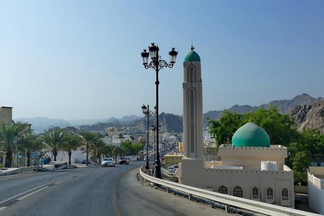 Strasse, Mutrah, Muscat, Oman, Moschee, Palmen, Weitsicht