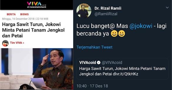 Jokowi Sarankan Petani Sawit Tanam Jengkol dan Petai, Rizal Ramli: Lagi Becanda Ya?