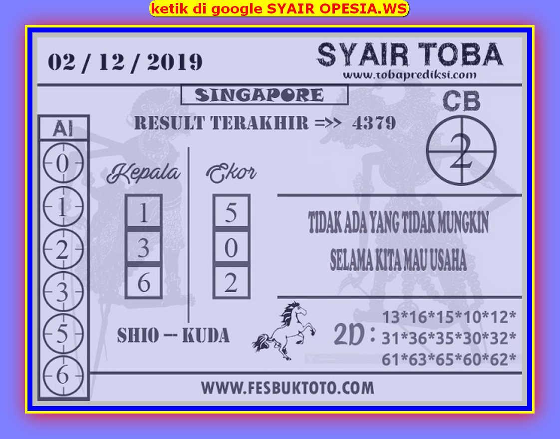 Kode syair Singapore Senin 2 Desember 2019 88