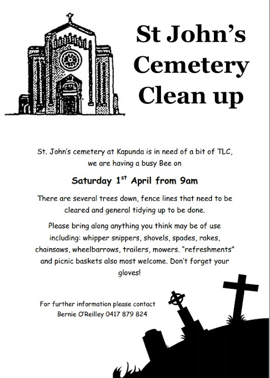 St John's Cemetery Clean Up April !st 2017