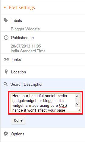 Blogger Post Description