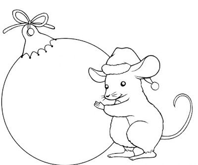 FREE DIGITAL STAMP - CHRISTMAS BAUBLE MOUSE