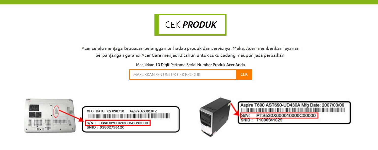 Cara Cek Keaslian Dan Garansi Produk Acer Indonesia