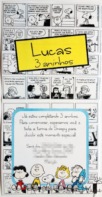 convite artesanal aniversário infantil personalizado filme snoopy e charlie brown peanults desenho quadrinhos menino festa