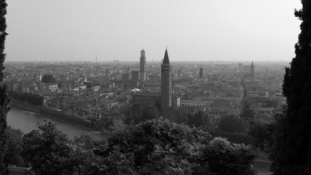 Panorama di Verona in bianco e nero