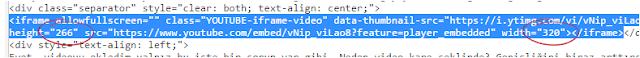 Youtube iframe kodu