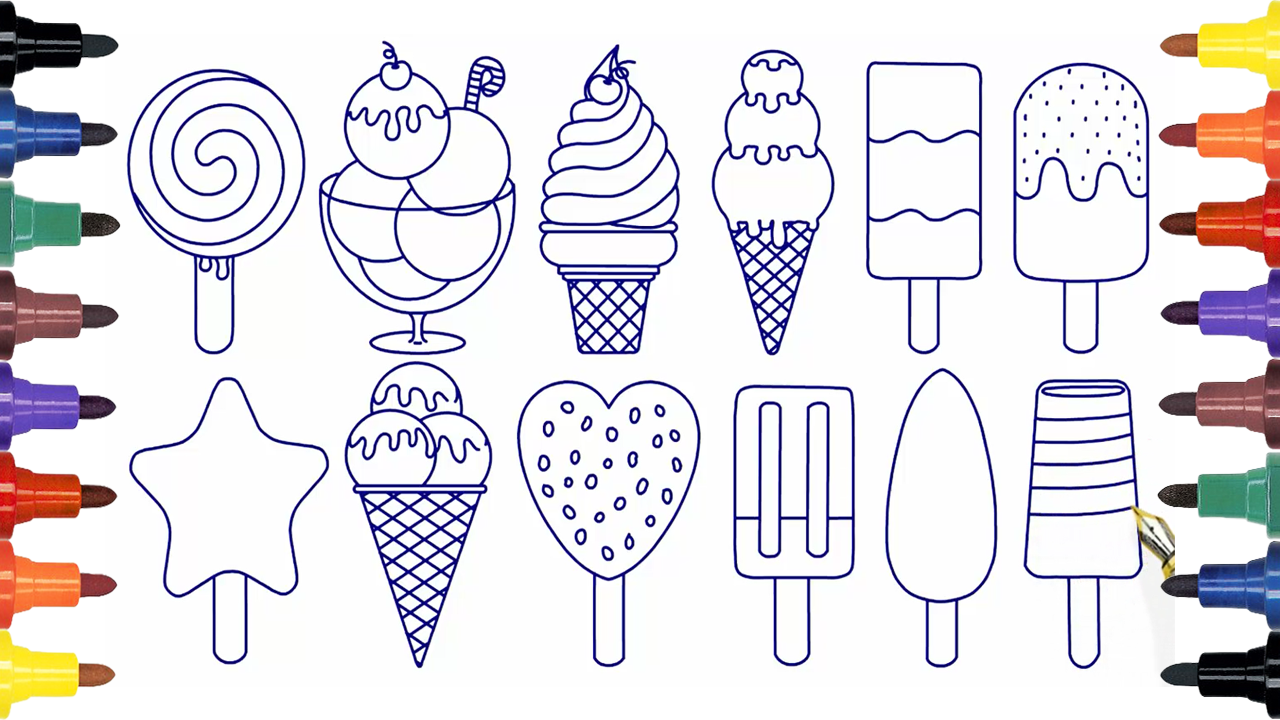 how to draw ice cream coloring ice cream coloring pages kids videoslearning colors - Drawing And Colouring Pictures For Kids