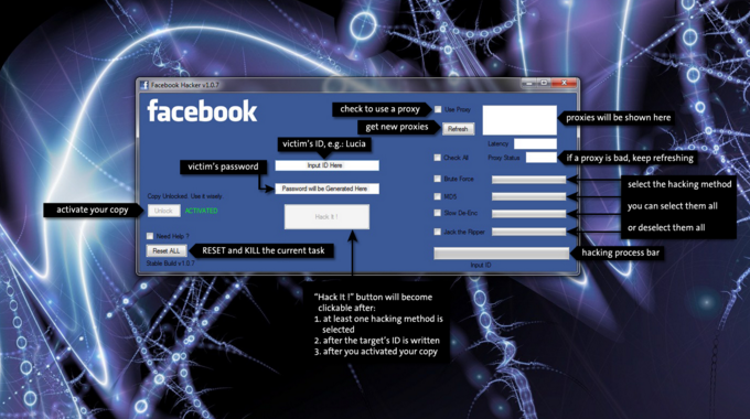 facebook Hacking Software  free download v1.8 with serial key