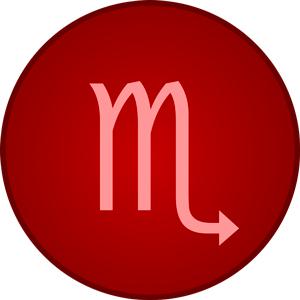 Imagen del signo del zodiaco Escorpio dentro de un circulo rojo