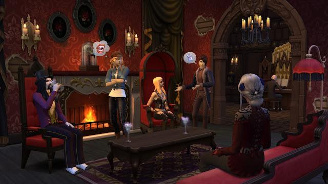 Salón de una casa en Los Sims 4 Vampiros