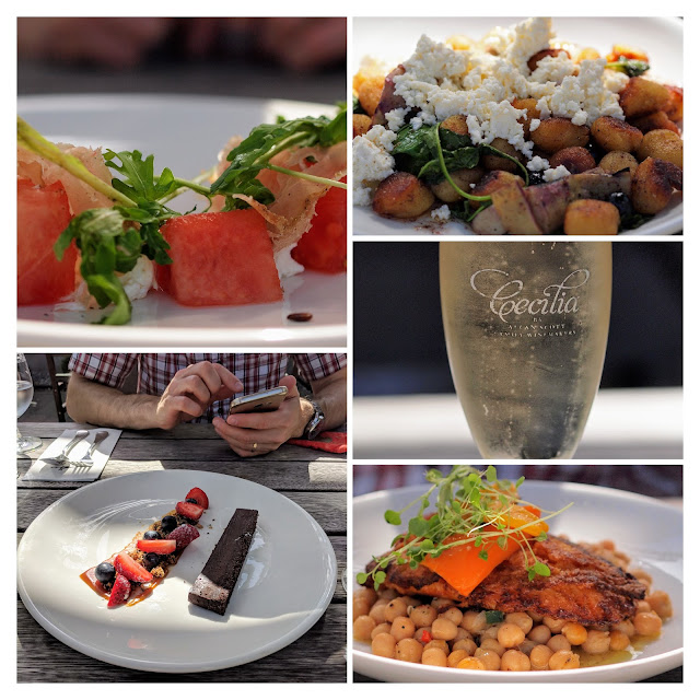 Blenheim wineries: collage of lunch pictures with sparkling wine at Allan Scott Family Winemakers in Marlborough New Zealand