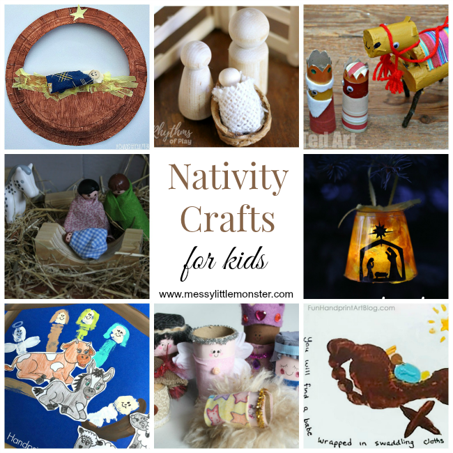 Nativity Christmas crafts for kids. A collection of nativity handprint crafts, nativity ornaments,  toilet roll nativity figures and nativity scenes. Teach the true meaning of Christmas to Preschoolers, toddlers and older kids.