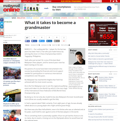 Malay Mail Online: What It Takes To Become A Grandmaster