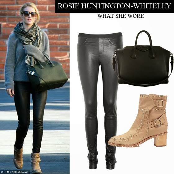 Rosie Huntington-Whiteley in black leather skinny pants with grey sweater  and beige ankle boots 112767c9a79b1