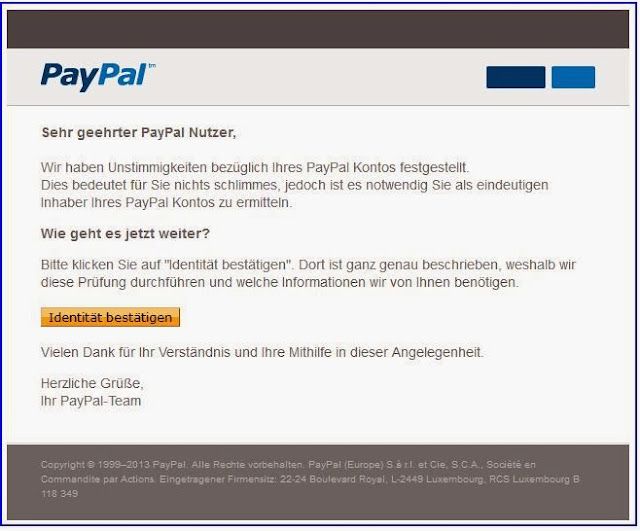 paypal gutschein paypal phishing mail. Black Bedroom Furniture Sets. Home Design Ideas