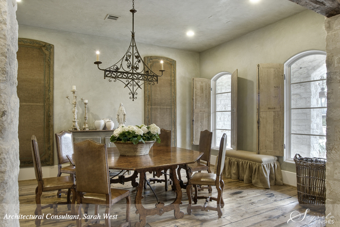 Dining room with Segreto Finishes plaster walls and design details in a beautiful French country home with Old World style.