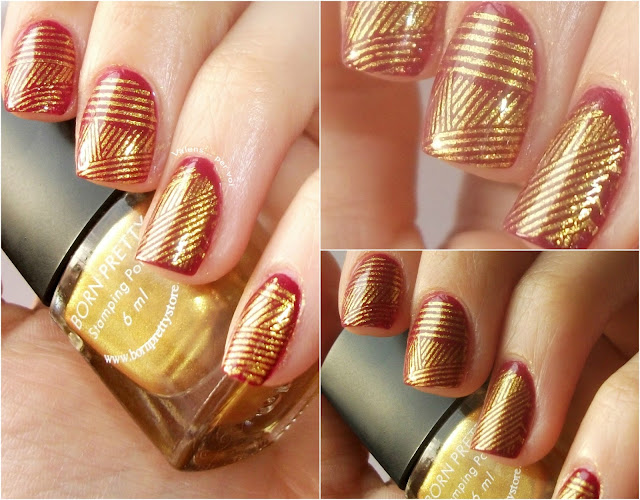 golden stamping manicure, Born Pretty Store, golden geometric manicure, stamped nail art, The Great Gtasby, roaring 20's, 2o's nail art