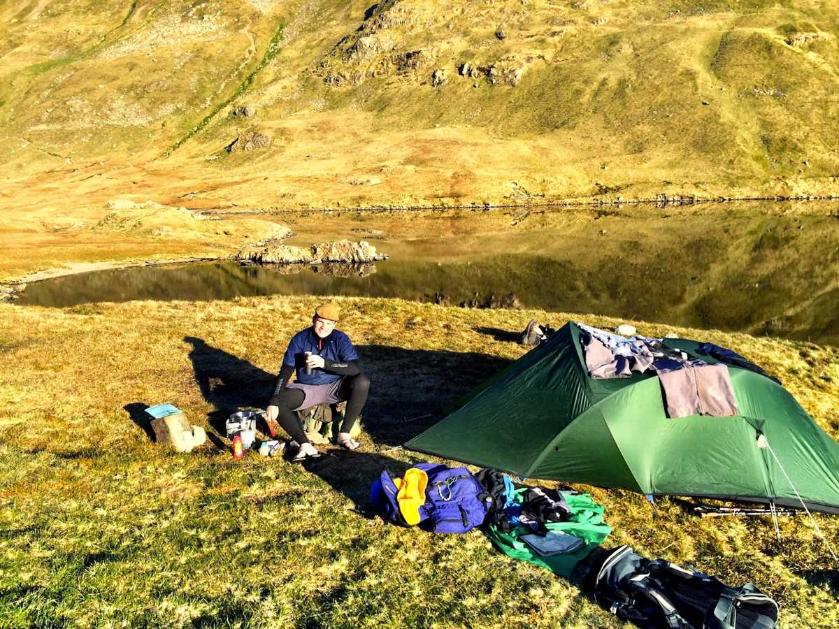 A wild camp kit explosion - Grisedale Tarn, Lake District