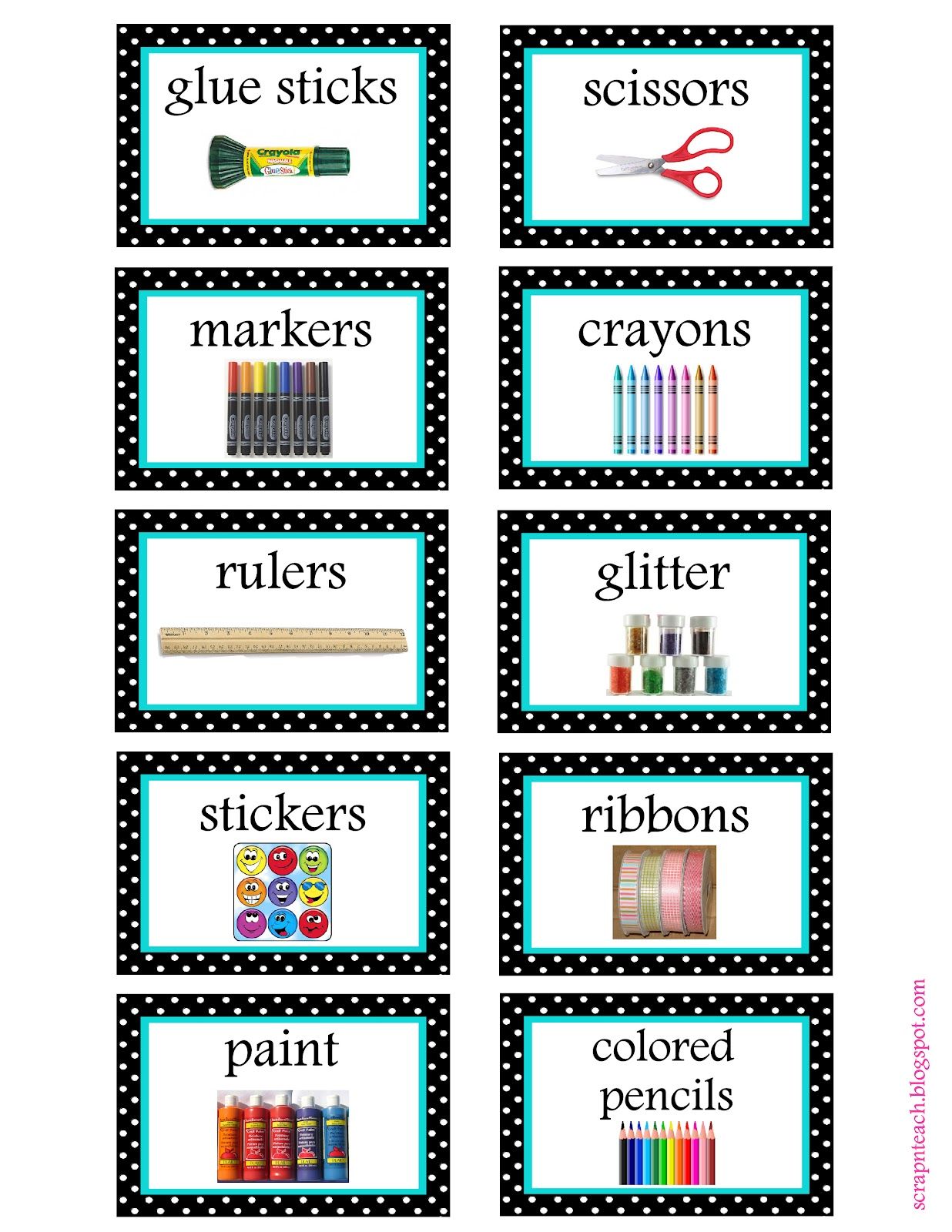 Scrap N Teach Free Tub Labels