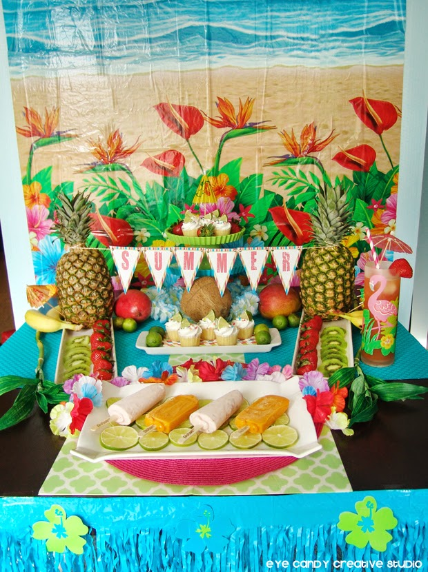 luau backdrop, luau decor, luau table, how to plan a luau, pineapple