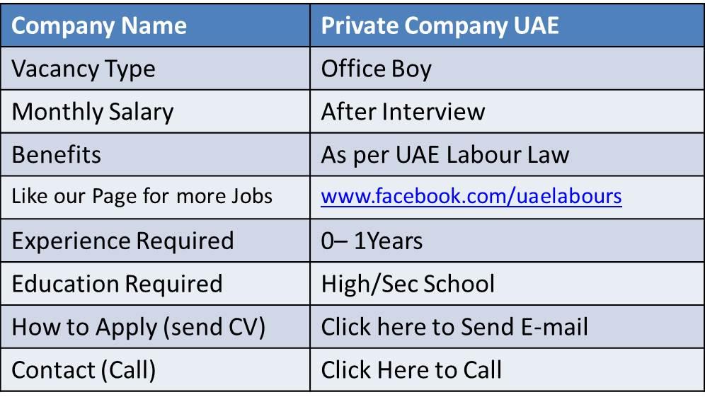 jobs in uae office boy
