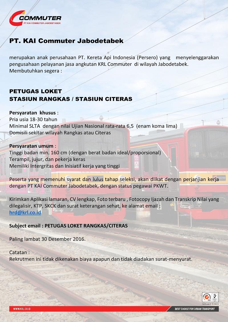 Lowongan Kerja Terbaru PT KAI Commuter Jabodetabek
