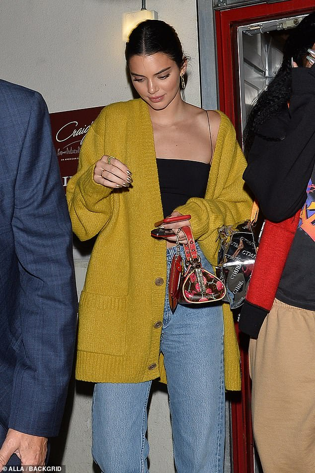 Kendall Jenner pictured while out for dinner in West Hollywood with Justine Skye