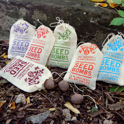 six packages of regional wildflower seed bombs