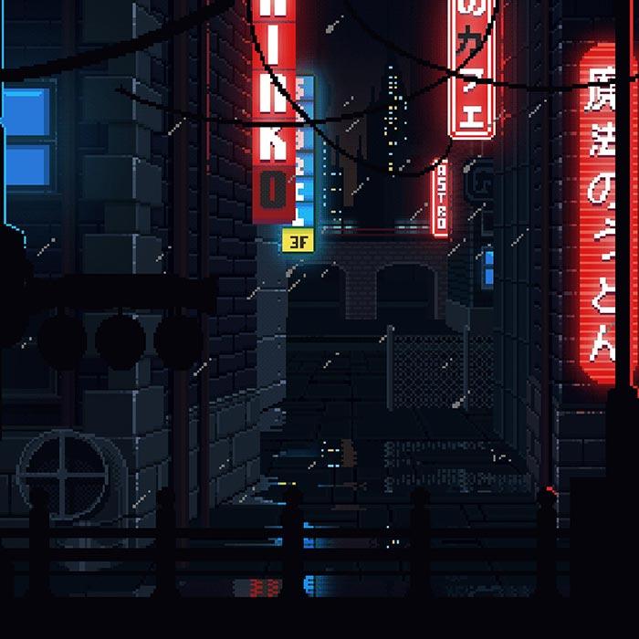 8 Bit Retro Japan Raining At Night Wallpaper Engine Download Wallpaper Engine Wallpapers Free