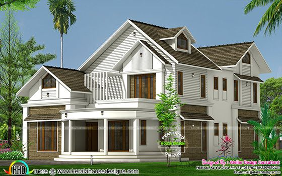 5 bedroom sloping roof dormer window home