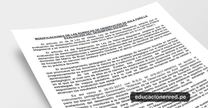 ANÁLISIS: Modificaciones de las Rúbricas de Observación de Aula para la Evaluación del Desempeño Docente 2018 (Fernando Gamarra Morales)