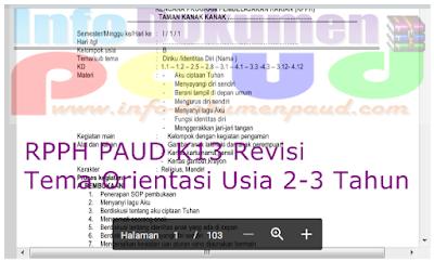 RPPH PAUD K13 Revisi Tema Orientasi Usia 2-3 Tahun - Documen Paud