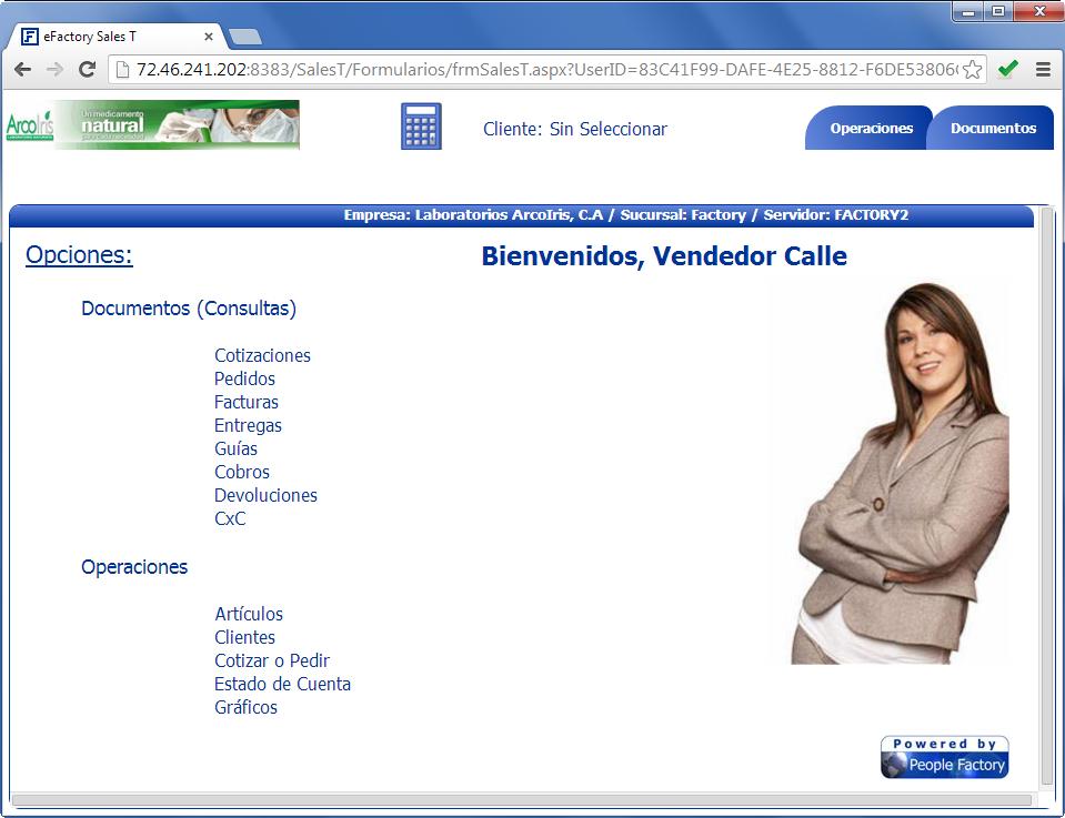 Sales T: Pantalla principal - Productos Web de eFactory para Móviles y Tabletas