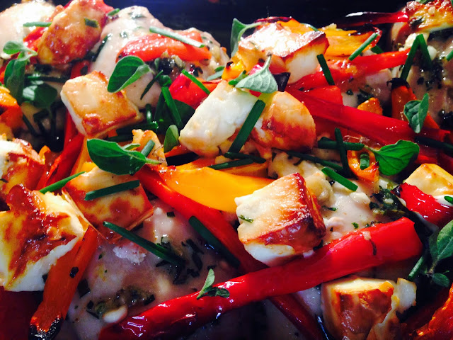 Oven baked chicken with feta cheese and herbs