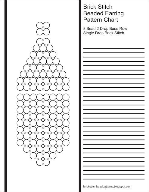 Free printable blank brick stitch beaded earring pattern chart.