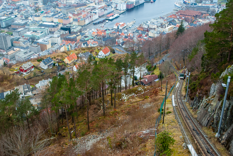 Taking the floibanen up to the peak of bergen norway