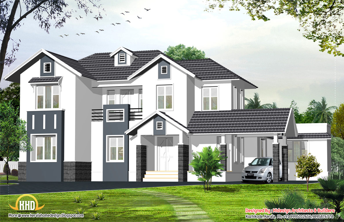 English style home 2424 sq ft kerala home design and for A frame style house