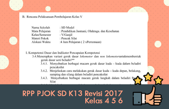 RPP PJOK SD K13 Revisi 2017 Kelas 4 5 6