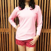 Jual Kaos Kuyaku Kaos Polos Premium Tangan Panjang Cotton Combed 30s pink